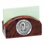 Oklahoma Sooners Wood Business Card Holder with Pewter Accent