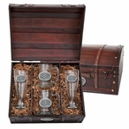 Oklahoma State Cowboys Logo Pewter Accent Beer Chest Box Set