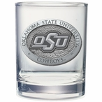 Oklahoma State Cowboys Logo Pewter Accent DOF Glasses, Set of 2