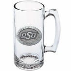 Oklahoma State Cowboys Logo Pewter Accent Glass Super Beer Mug