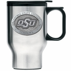 Oklahoma State Cowboys Logo Travel Mug with Handle & Pewter Accent
