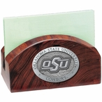 Oklahoma State Cowboys Logo Wood Business Card Holder w/ Pewter Accent