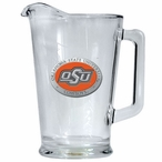 Oklahoma State Cowboys Orange Logo Glass Pitcher with Pewter Accent