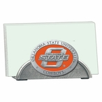 Oklahoma State Cowboys Orange Metal Business Card Holder with Pewter