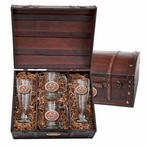 Oklahoma State Cowboys Orange Pewter Accent Beer Chest Box Set