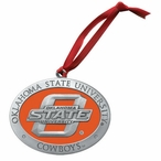 Oklahoma State Cowboys Orange Pewter Accent Ornaments, Set of 2