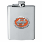 Oklahoma State Cowboys Orange Stainless Steel Flask with Pewter Accent