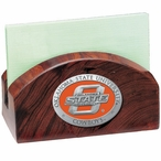 Oklahoma State Cowboys Orange Wood Business Card Holder with Pewter