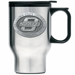 Oklahoma State Cowboys Stainless Steel Travel Mug with Handle & Pewter
