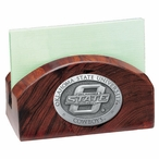 Oklahoma State Cowboys Wood Business Card Holder with Pewter Accent