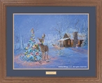 Oops! Once Upon a Time Deer Caught in Christmas Tree Framed Art Print