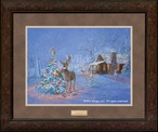 Oops Once Upon a Time Deer Caught in Christmas Tree Framed Art Print