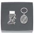 Orca Whale Money Clip & Key Chain Gift Set with Pewter Accents