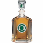 Oregon Ducks Green Capitol Glass Decanter with Pewter Accents