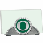 Oregon Ducks Green Metal Business Card Holder with Pewter Accent