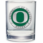 Oregon Ducks Green Pewter Accent Double Old Fashion Glasses, Set of 2