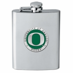 Oregon Ducks Green Stainless Steel Flask with Pewter Accent