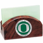Oregon Ducks Green Wood Business Card Holder with Pewter Accent