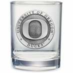 Oregon Ducks Pewter Accent Double Old Fashion Glasses, Set of 2
