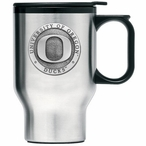 Oregon Ducks Stainless Steel Travel Mug with Handle & Pewter Accent