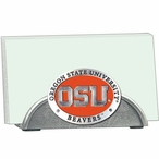 Oregon State Beavers Orange Metal Business Card Holder with Pewter