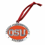 Oregon State Beavers Orange Pewter Accent Ornaments, Set of 2