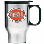 Oregon State Beavers Orange Travel Mug with Handle & Pewter Accent