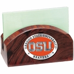 Oregon State Beavers Orange Wood Business Card Holder w/ Pewter Accent
