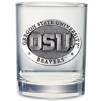 Oregon State Beavers Pewter Double Old Fashion Glasses, Set of 2