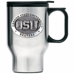 Oregon State Beavers Stainless Steel Travel Mug with Handle & Pewter