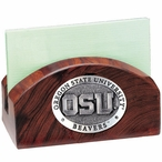 Oregon State Beavers Wood Business Card Holder with Pewter Accent