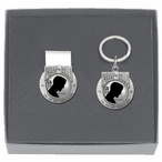 P.O.W. M.I.A Black Money Clip & Key Chain Gift Set with Pewter Accents