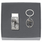 Palm Tree Money Clip & Key Chain Gift Set with Pewter Accents