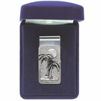 Palm Tree Steel Money Clip with Pewter Accent
