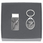 Pheasant Money Clip & Key Chain Gift Set with Pewter Accents