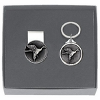 Pintail Duck Money Clip & Key Chain Gift Set with Pewter Accents
