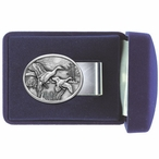 Pintail Ducks Oval Steel Money Clip with Pewter Accent
