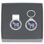 Proud To Be A Democrat Blue Money Clip & Key Chain Pewter Gift Set