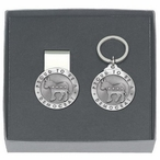 Proud To Be A Democrat Money Clip & Key Chain Pewter Gift Set
