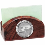 Purdue Boilermakers Wood Business Card Holder with Pewter Accent