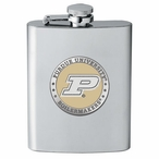 Purdue Boilermakers Yellow Stainless Steel Flask with Pewter Accent
