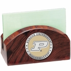 Purdue Boilermakers Yellow Wood Business Card Holder w/ Pewter Accent