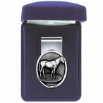 Racehorse Steel Money Clip with Pewter Accent