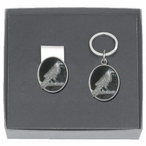Raven Bird Black Money Clip & Key Chain Gift Set with Pewter Accents