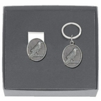 Raven Bird Money Clip & Key Chain Gift Set with Pewter Accents