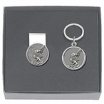 Roadrunner Money Clip & Key Chain Gift Set with Pewter Accents