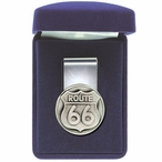 Route 66 Steel Money Clip with Pewter Accent