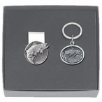 Salmon Fish Money Clip & Key Chain Gift Set with Pewter Accents