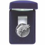 Salmon Fish Steel Money Clip with Pewter Accent