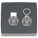 Scales of Justice Money Clip & Key Chain Gift Set with Pewter Accents